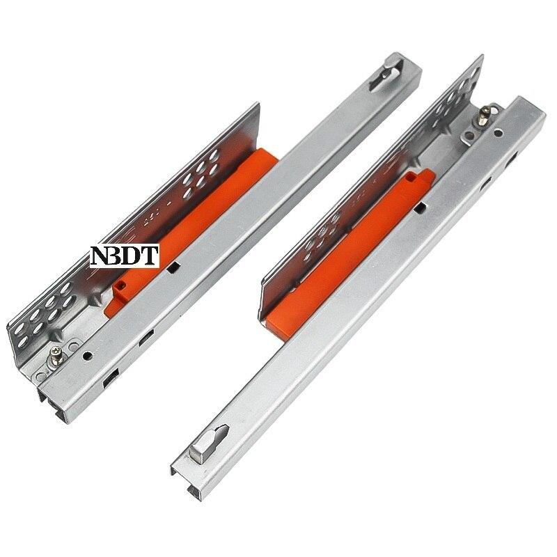 1Pair Rebound Press Push To Open Under-mounted Kitchen Bath Cabinet Drawer Slide Rail Runner DTC 25KG 2 Folds Half Extention