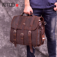 AETOO Leather mens big bag, head leather travel multi-functional vintage mad horse handbag