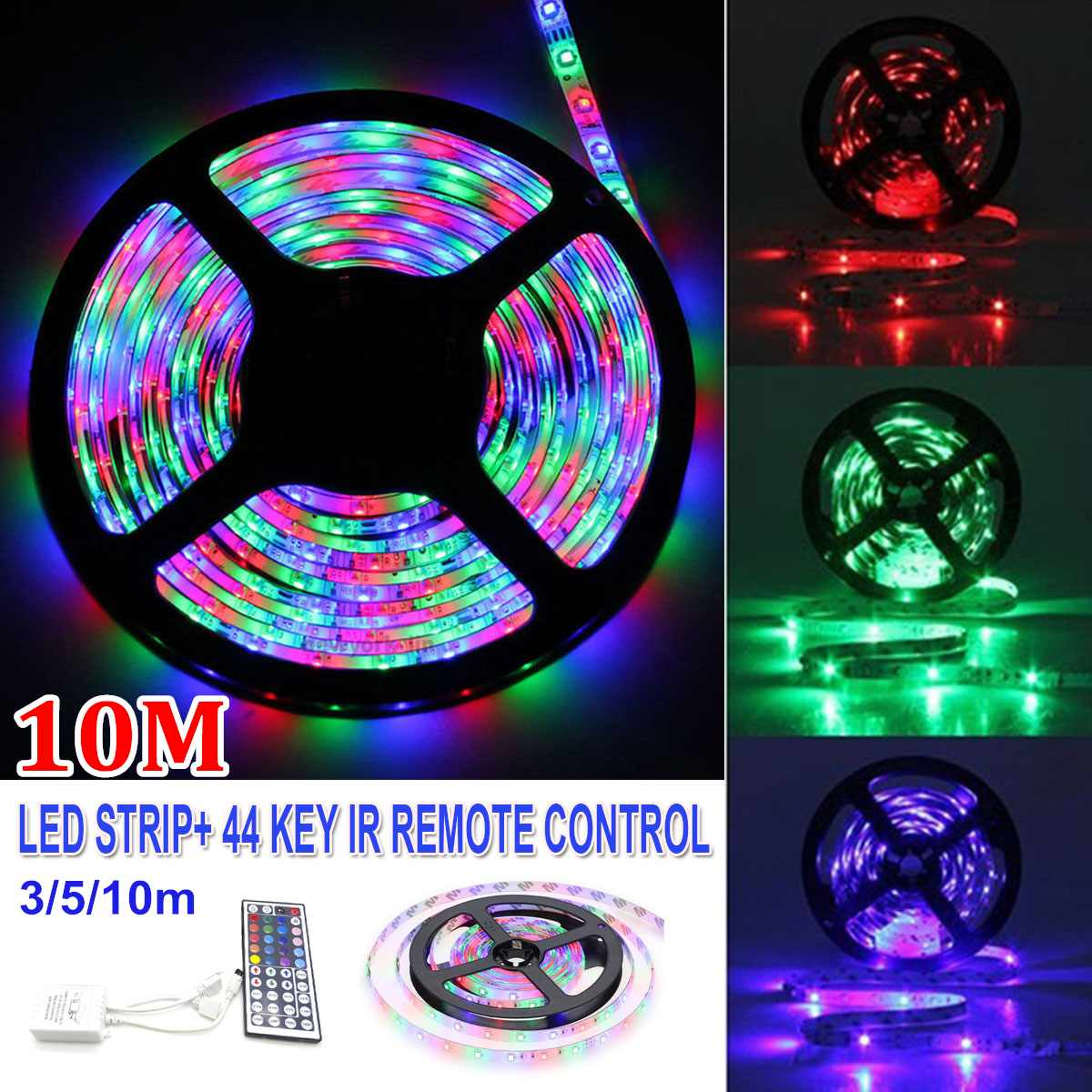 SMD3528 RGB 600 LED Strip 3/5/10M 12V Light String Tape + 44 Key IR Remote Control Non-waterproof 60 LED/M LED Ribbon Tape
