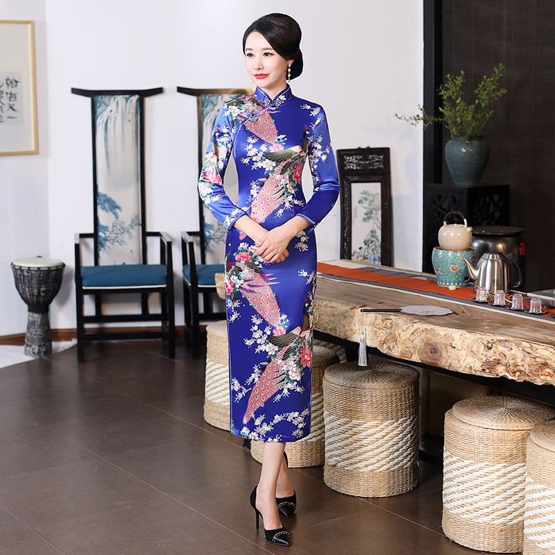 Casual Women Rayon Chinese Dresses Qipao Vintage Evening Gown Short Sleeve Cheongsam Long Formal Party Vestidos Classic