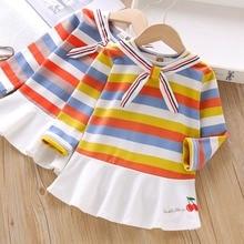 fall 2019 rainbow dress girl kids dresses for girls vestido infantil roupa menina robe jurk clothes toddler stripe costume baby