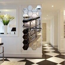 3D Mirror Decal Decor-Sticker Mural Art-Ornament Living-Room Home-Decor Hexagon Removable