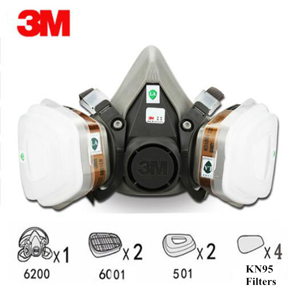 3M 6200 N95 9 In 1 Suit Half Face Gas Mask Respirator Painting Spraying Dust Mask PM2.5 Gas Mask