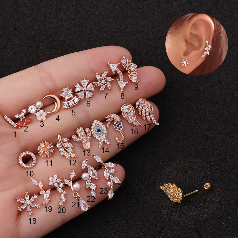 1piece Gold Color Cross Moon Fish Flower CZ Tragus Cartilage Stainless Steel Ear Stud Piercing Crystal Daith Earring