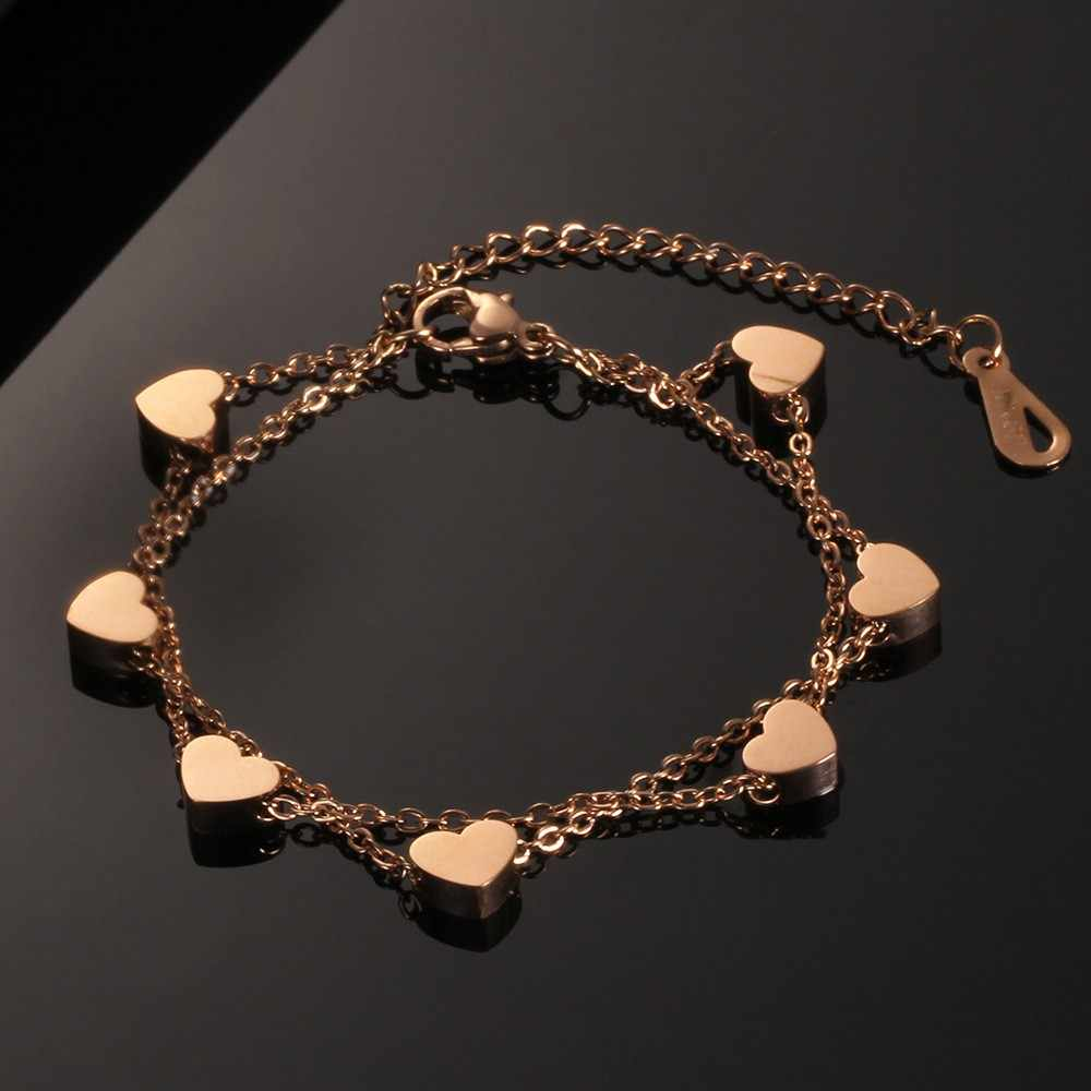 Charm bracelets for women Bohemian Multilayer Stainless Steel Women's Bracelet Heart Shaped Titanium Steel pulseras mujer moda