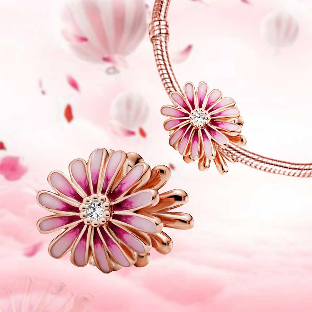 2020 nuovo Stile 925 Sterling Silver Misura 925 Originale Pendenti E Ciondoli Braccialetto di Perline Rosa Del Fiore della Margherita FAI DA TE Creazione di Gioielli Per Le Donne