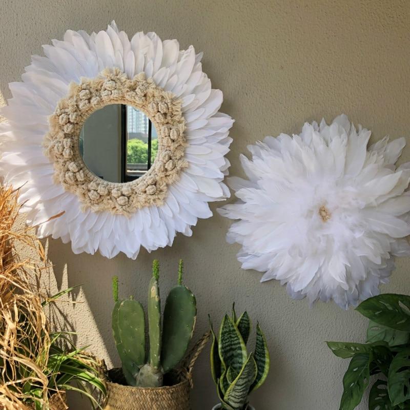 3 Pcs Hand-woven Macrame Feather Mirror Wall Hanging Wall Nordic Porch Creative Living Room Sofa B&B Decor Headboard Boho Decor