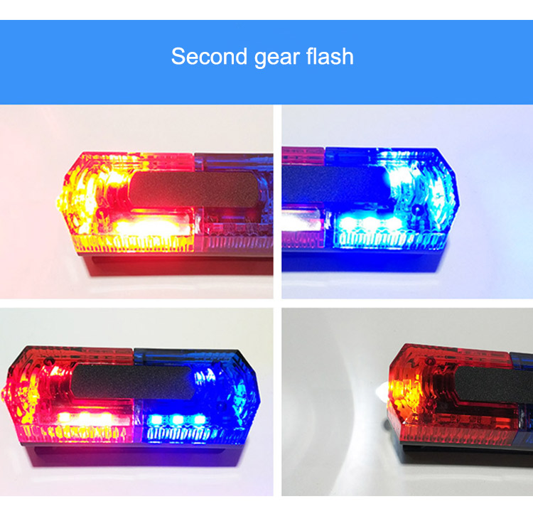 Traffic Warning Light LED Stainless Steel Clip Red Blue Flash Light Rechargeable Night Road Outdoor Dark Area Warning Lamp (4)
