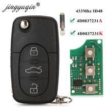 Пульт дистанционного управления jingyuqin 4D0837231A, 433 МГц, ID48, 3 кнопки, для AUDI, откидной складной чип для A3, A4, A6, A8, старые модели