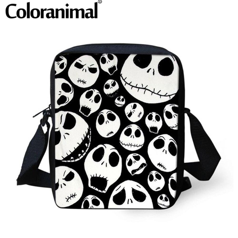 Coloranimal New Crossbody Bags Jack Skellington Printed Small Messenger Bags Nightmare Before Christmas Shoulder Bags For Boys
