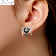 SINLEERY Vintage Rhinestone Spider Stud Earrings Women Antique Silver Gold Color Animal