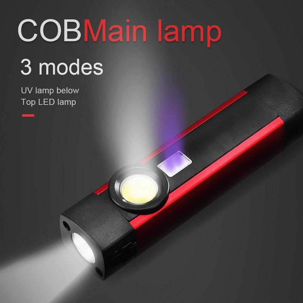 COB LED Mini Pen Light UV Magnet USB Rechargeable Work Torch Flashlight Lamp Dropshipping Accessories Christmas decoration