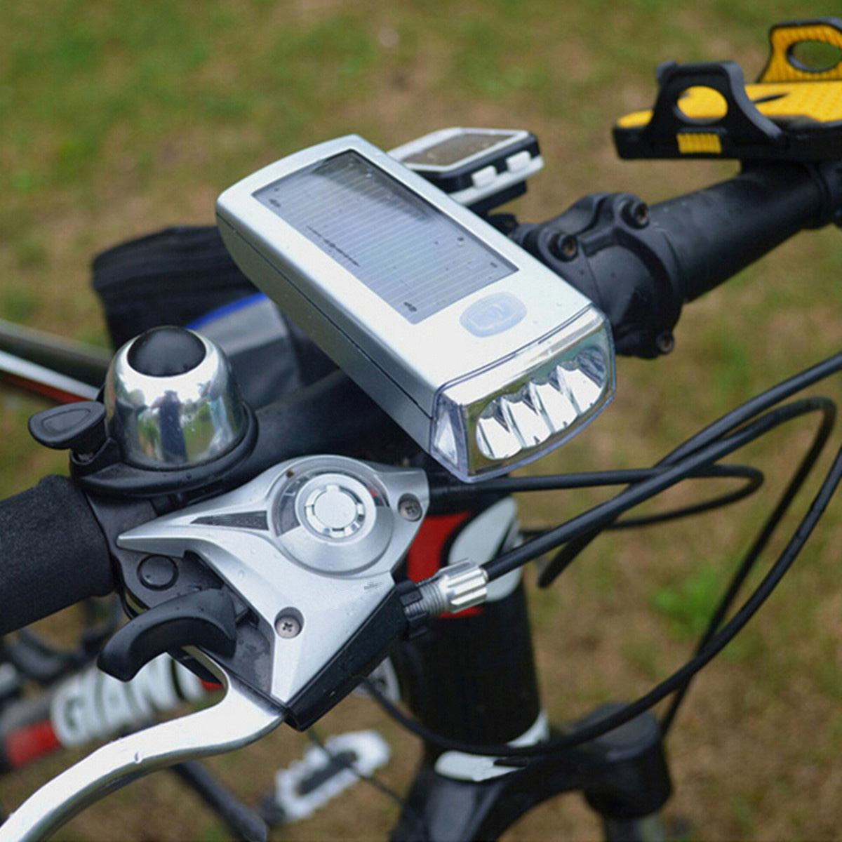 Bicycle-Accessories Bike-Light Solar-Powered Usb-Charging Waterproof MTB 4-Led title=