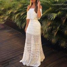 Чистый белый длинный макси платье элегантный прозрачный кружевной полый призвание праздник платья без бретелек сексуальный женский вечеринка платья халаты