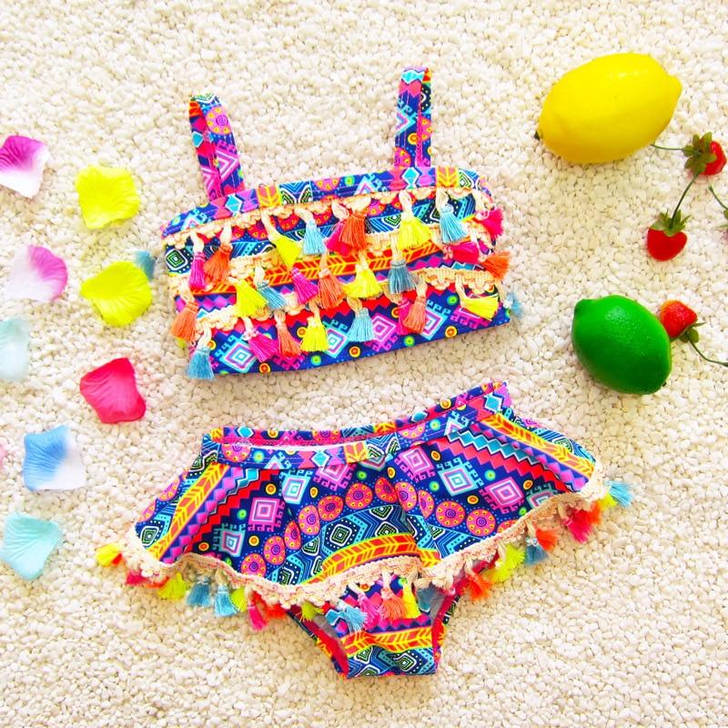 Infants Children Hot Springs Ethnic-Style Large Children Baby South Korea Tassels Split Skirt Triangle Girls Swimwear