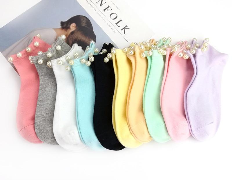 Носки женские хлопковые с искусственным жемчугом, милые повседневные короткие женские, носки для девочек, 9 цветов, карамельные цвета