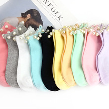Female Socks Short Women's Sox Candy-Color Cotton Ladies Casual Hosiery Imitation-Pearl