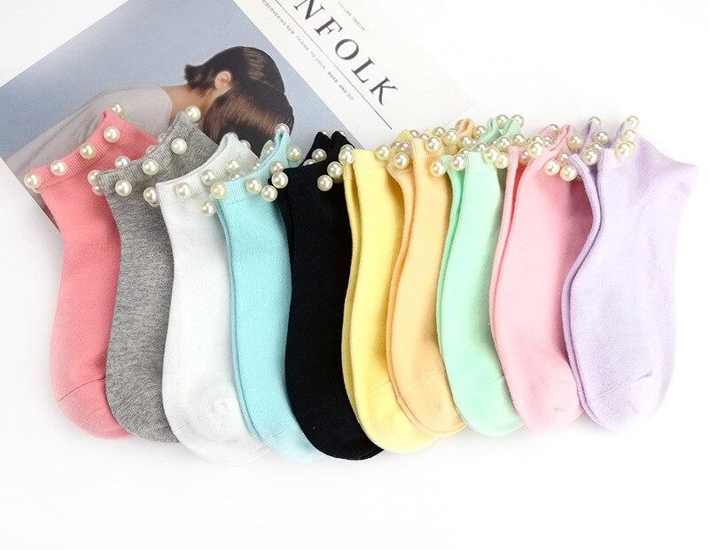 9 cores feminino meias de algodão adorável doce cor imitação de pérola meias femininas. casual senhoras menina curto meias femininas sox hosiery