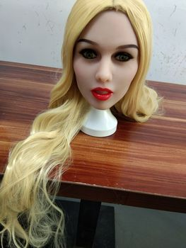 Real sex dolls head Long blond pretty girl for 135cm to 176cm big breasts/flat chest/small breasrs pregnant fat ass doll