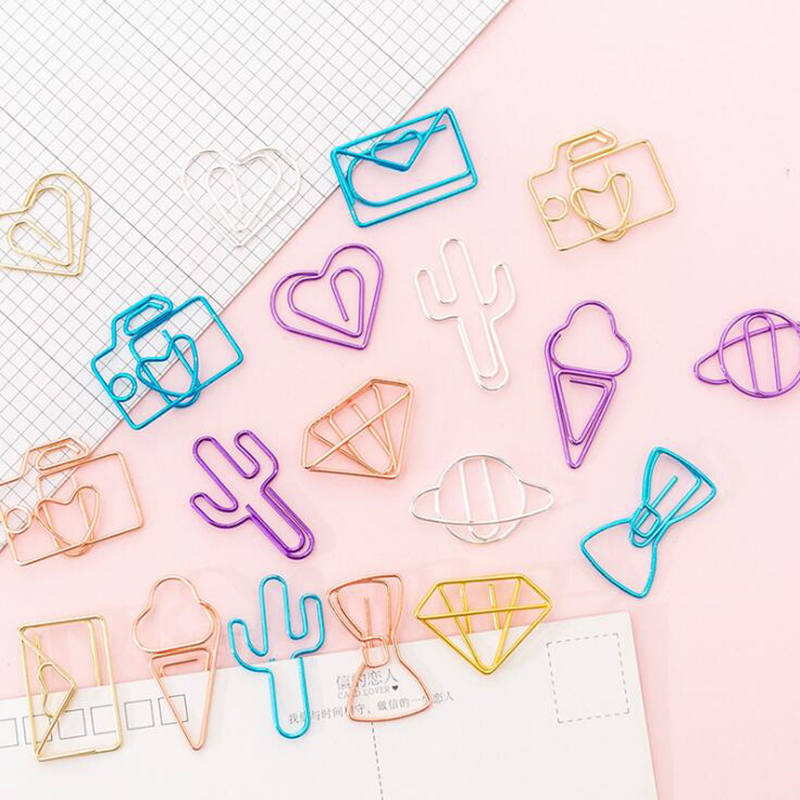10pcs / Pack Of Cute Cactus Camera Ice Cream Shape Mini Paper Clip Stationery Metal Transparent Ring Binder Ticket Holder