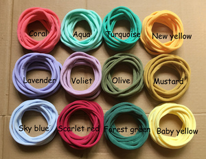 Image 2 - 100 adet/grup, yeni düz renk naylon elastik bantlar süper yumuşak ve işaretsiz, Traceless bebek kafa bantları