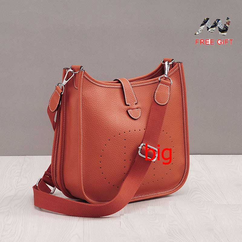 Women Bucket Bag Leather Litchi Grain Messenger Bag Cow Leather I-I Hollow Shoulder Bags Ladies Bolsa Feminina Small Leather Bag
