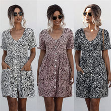 Hot Sale Sexy Deep V Neck Women's Dress 2020 Causdal Summer Boho Polka Dot Print Ladies Dresses Fashion Button Pocket Dress