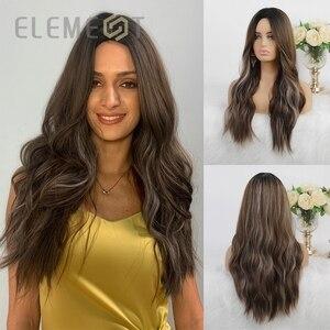 Синтетические длинные натуральные волнистые волосы, цвет Омбре, коричневый, смешанный серый цвет, средняя часть, парики для женщин, вечерни...