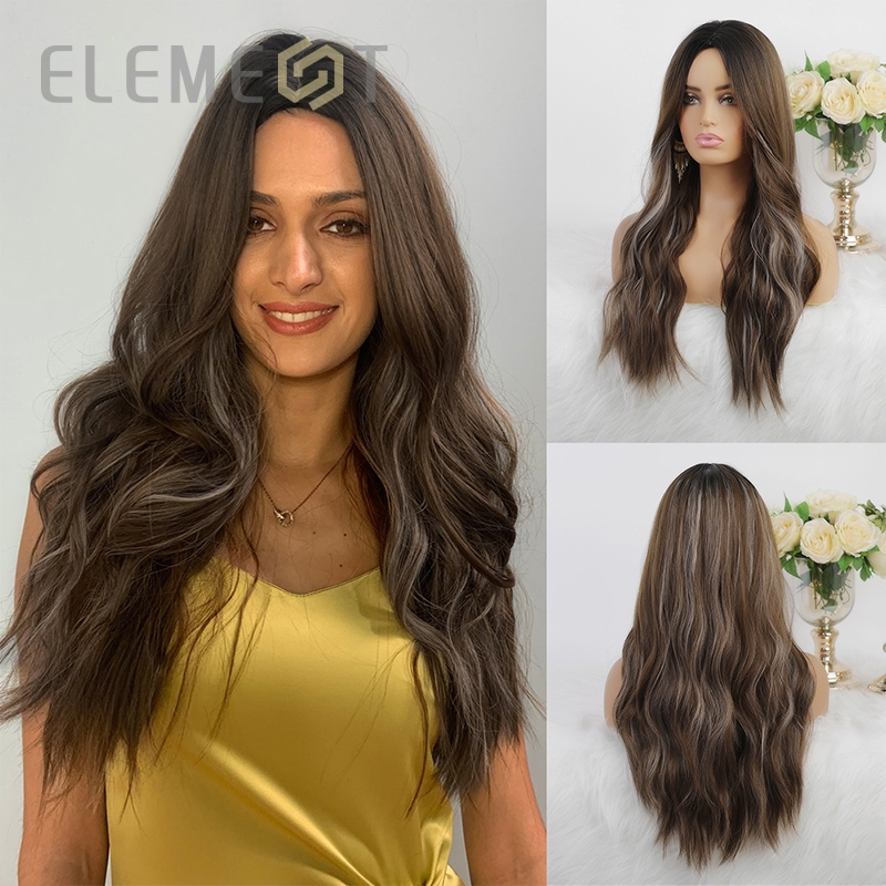 Elemento sintético longo onda natural cabelo ombre marrom mix cinza cor parte do meio perucas para as mulheres cosplay festa ou uso diário perucas