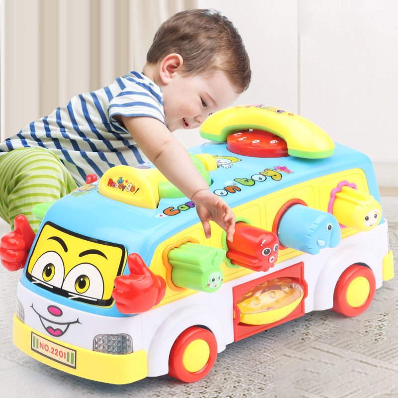 Children Electric School Bus Music Car Including 8 Games & Animal Calls Early Educational Toys For Children Gift