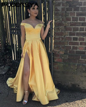 Off the Shoulder High Slit Prom Dresses 2020 Yellow Satin Evening Gowns Backless Wedding Party Dress Simple vestido formatura