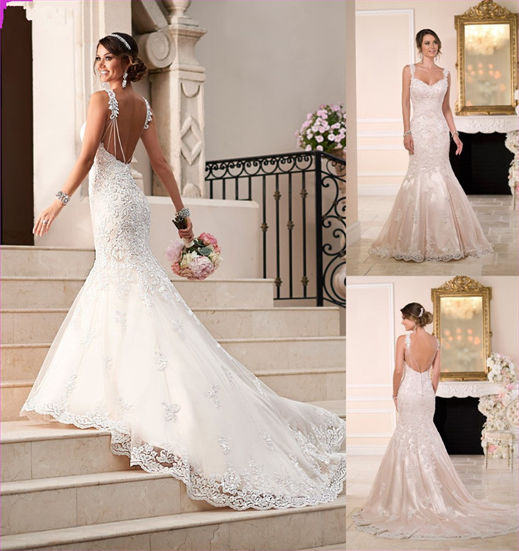 Vestido De Noiva Sexy Backless Sweetheart Sleeveless Beading Appliques Lace Vintage Bridal Gown 2018 Mother Of The Bride Dresses