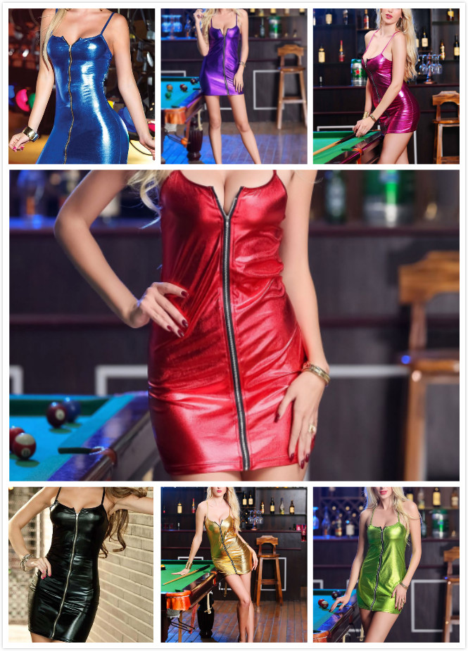 Patent leather light Camisole Front zipper Pure color sex shop s-xxxxl sexy latex <font><b>dress</b></font> <font><b>pvc</b></font> <font><b>dress</b></font> clubwear leather dres image