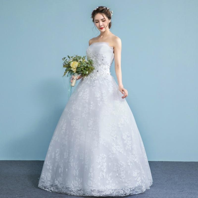 Appliques Pearls Vintage White Wedding Dresses 2019 Vestidos De Noivas Plus Size Strapless Bridal Ball Gowns