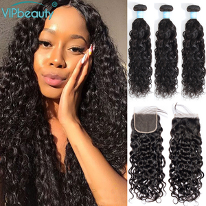 Image 1 - Indian Water Wave Bundles With Lace Closure Human Hair Vip Beauty Hair Weave 3 Bundles With Closure Remy Hair Extension