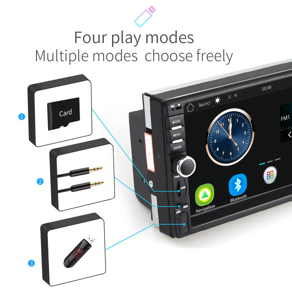 Image 2 - Podofo 7'' Android Car Radio Stereo GPS Navigation Bluetooth USB SD 2 Din Touch Car Multimedia Player Audio Player Autoradio-in Car Multimedia Player from Automobiles & Motorcycles