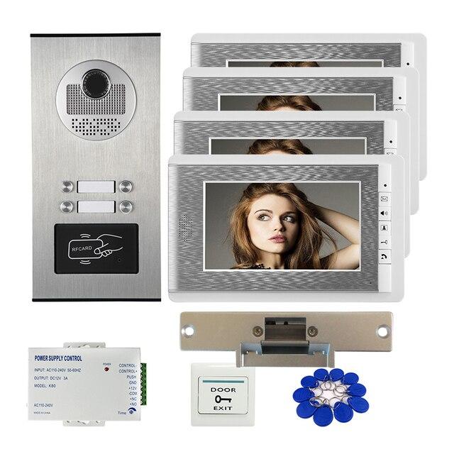 """Ücretsiz gemi 7 """"görüntülü kapı telefonu interkom sistemi RFID erişim kapı zili kamera için 2 / 3 / 4 aile daire + elektrikli Strike kilit"""
