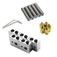 15pc/set 1.75mm Teflon Throat Tube+0.4mm Extruder Nozzle Print Heads+Heater Blocks Hotend For MK8 Makerbot ANET A8 3D Printer|3D Printer Parts & Accessories| |  -