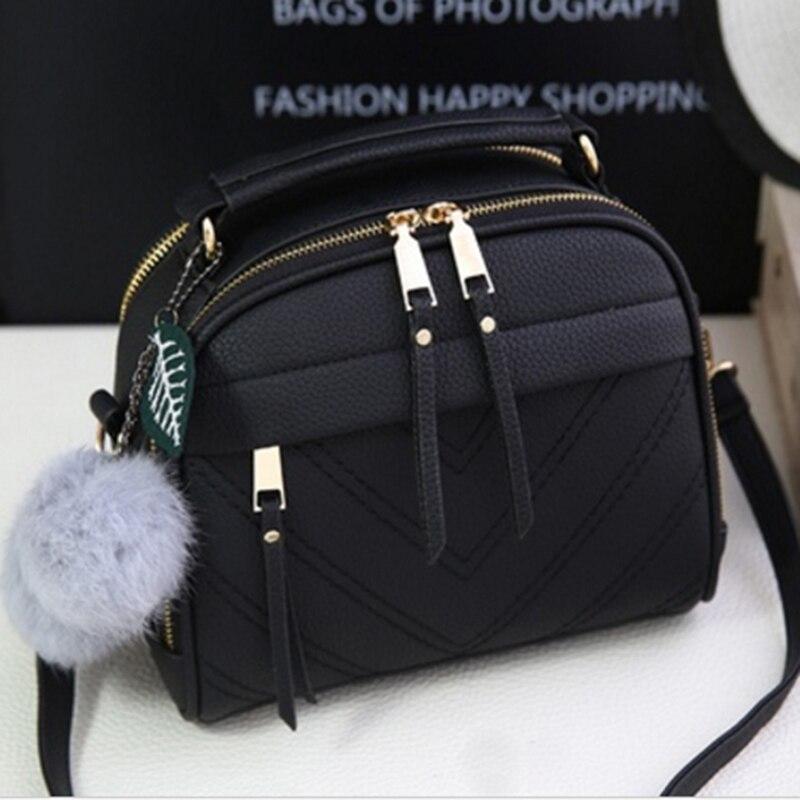2019 Girl Messenger Bags With Fair Ball Tassel Fashion PU Leather Handbag For Women Female Shoulder Bags Ladies Party Handbags