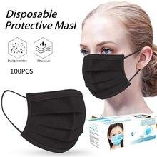 Masque de protection facial, avec filtre à 3 couches, respirant, à boucles auriculaires, pour adulte, 100 pièces
