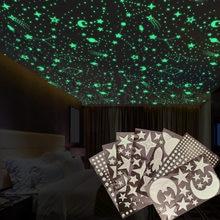 Bolha 3d estrelas luminosas lua pontos adesivo de parede para quarto das crianças decoração para casa brilho no escuro diy combinação adesivos