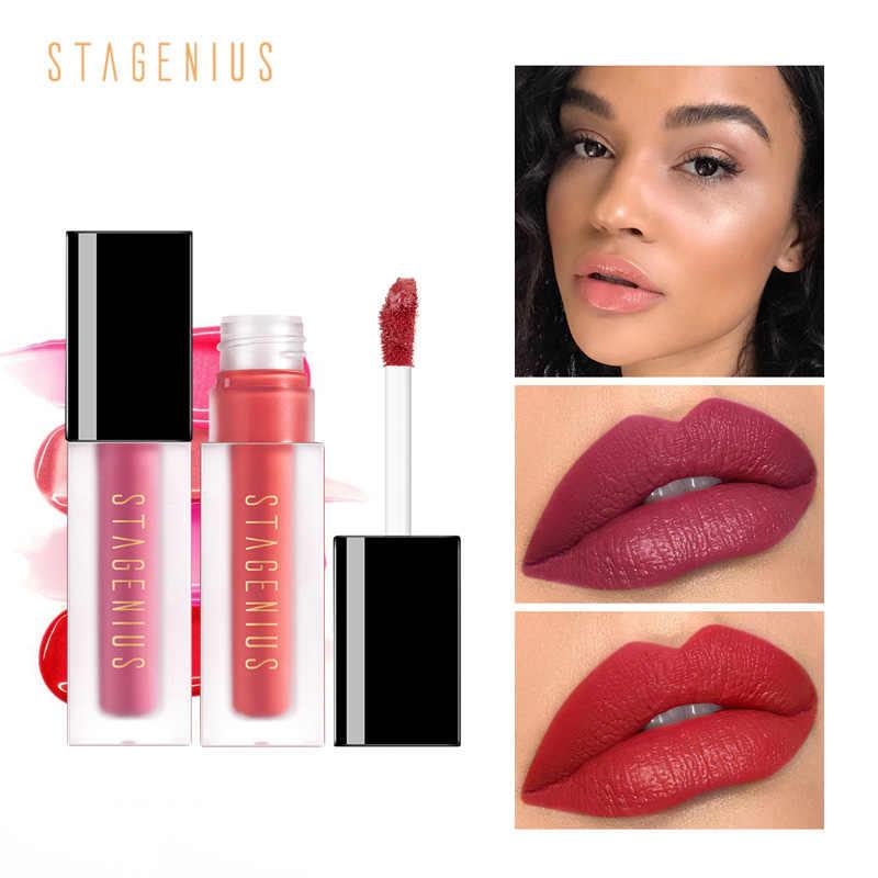 STAGENIUS נוזל שפתון עמיד למים קטיפה מט גלוס לאורך זמן 9 צבעים שפתיים איפור סקסי שפתון ליפ גלוס חדש