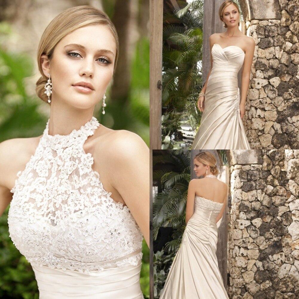 Free Shipping Vestido De Noiva Casamento Mermaid Halter Robe De Mariee Mariage Appliques Lace Wedding Dress 2019 Bridal Gown