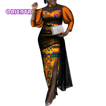 2020 Fashion African Dresses for Women Casual Puff Sleeve Split Ankara Dress African Print Women Plus Size Dress WY6697