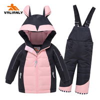VALIANLY 2020 Winter Warm Kids Girls Ski Sets Children Clothing Cotton Snow Wear Ski Jacket Pants Outdoor Waterproof Ski Suits