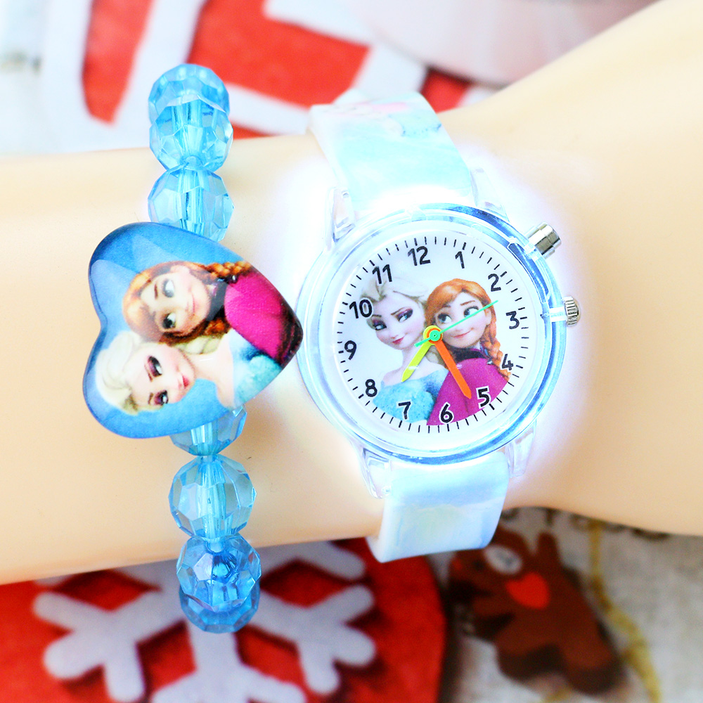 New Children Watches With Bracelet Colorful Light Source Princess Girls Watch Kids Party Gift Clock Wrist Relogio Feminino