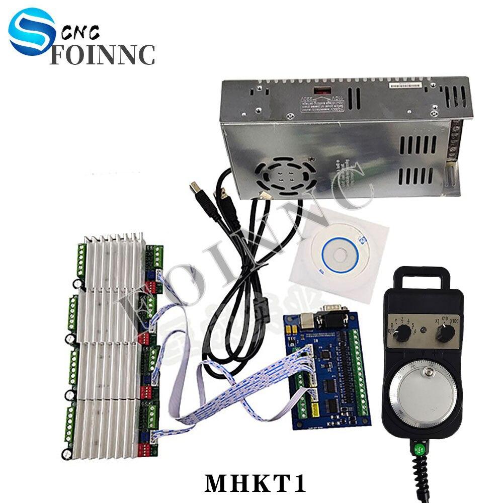 4-axis CNC USB MACH3 100KHz stepping motion control card breakout board + 4PCS TB6600 1-axis 4.5A stepping motor driver board