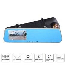 лучшая цена Full HD 1080P  Car DVR Camera 4.3 Inch Dual Lens Mirror Rear View Video Driving Recorder Night Vision Loop Recording Dash Cam