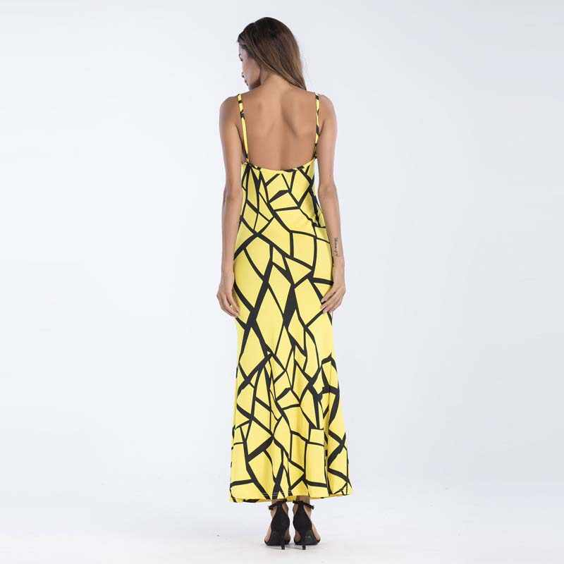 WHZHM/Большие размеры 3XL 4XL 5XL вечерние женские платья с принтом на бретелях с открытой спиной летние сексуальные обтягивающие длинные платья с высокой талией