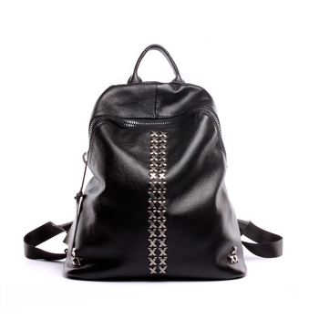 100% Genuine Leather Backpack Women Daily Casual With Rivet Teenager Girls Black School Bag Female Large Capacity Travel Bags